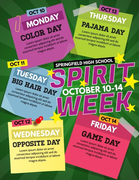 Spirit Week School Spirit Week Spirit Week School Holiday Programs