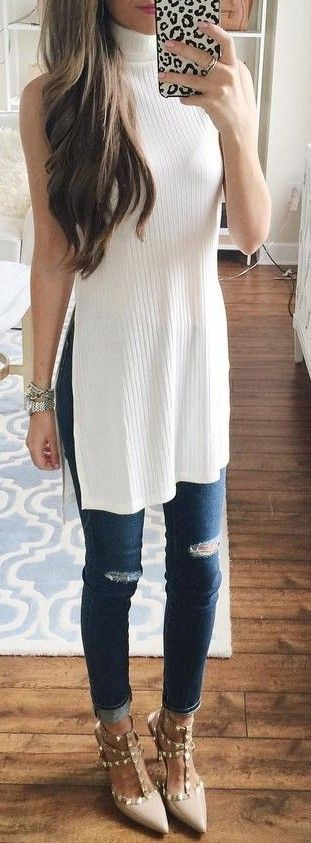 #summer #preppy #outfits |  White Ribbed Turtleneck + Jeans
