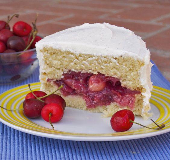 Cherry Filled Almond Cake