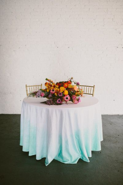 ombre linens and bright florals Photography + Creative Direction by Paige Jones / paigejones.co, Design, Decor + Styling by Simply Charming Socials / simplycharmingsocials.com, Floral Design by Gertie Maes Floral Studio / gertiemaes.com
