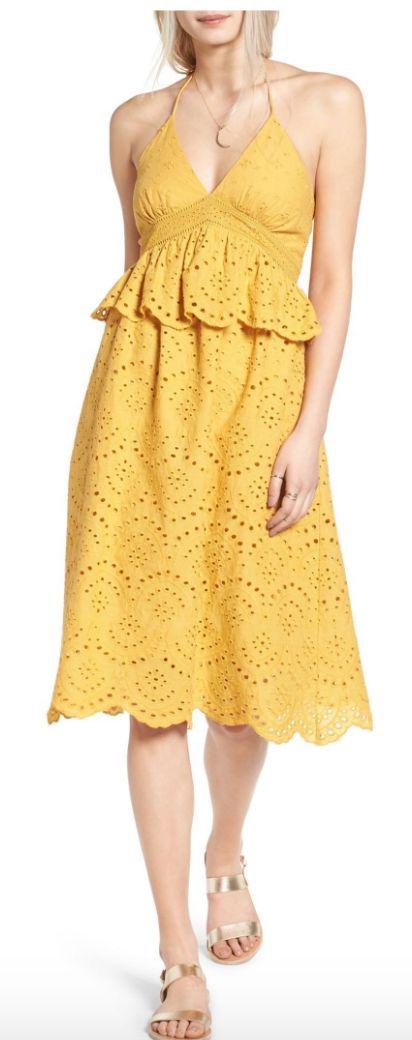 Halter eyelet midi dress