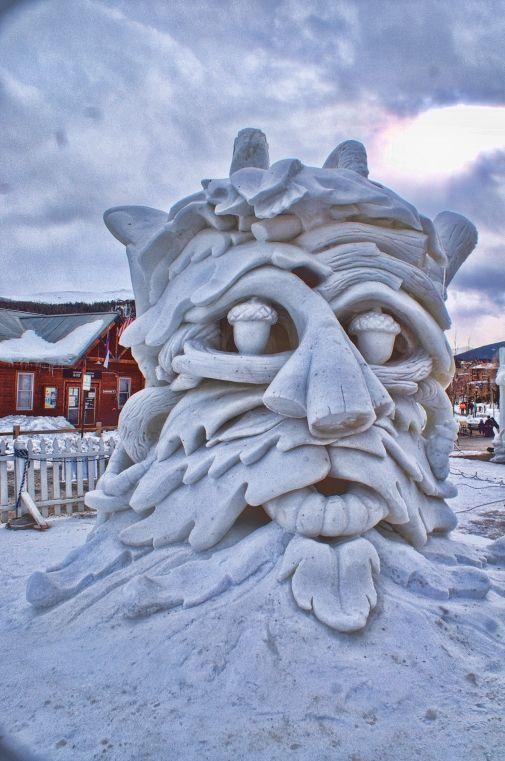 forest inspired face snow sculpture #snowSculpture #snow #winter #sculpture #face