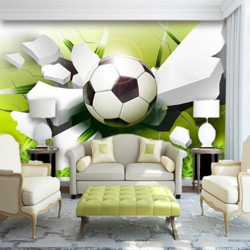 3d Soccer Football Sports Wallpaper Mural For Home Or Business Trendy Living Room Wallpaper Wall Stencil Living Room Wallpaper Living Room