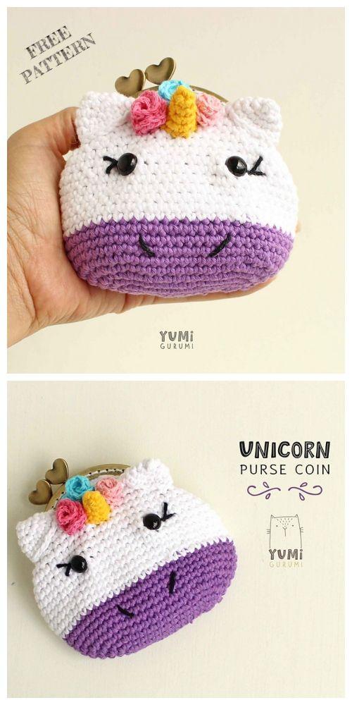 Crochet Unicorn Purse