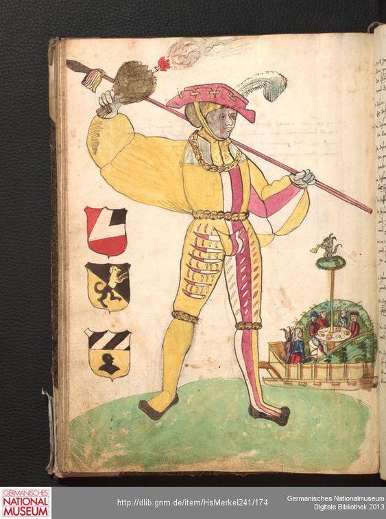 Merkel Hs 2° 241  Schembartbuch [o.O.]: 1551/1600 Illustration: Hans Tucher, Lorentz Steiber und Ulrich Haller (Haubtleut 1518), mit Hölle: Venusberg