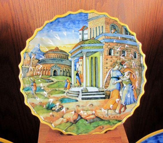 Chateau-Ecouen- Abimélech épiant Isaac et Rébecca. D'après une vignette des Quadrins historiques de la Bible, 2° moitié XVI°s. Faïence- Acienne coll Campana E. CL.7569. Oeuvre d'après Nicolo di Gabriele Sbraga dit Nicolo da Urbino, peintre qui est notamment l'auteur du service en majolique d'Isabelle d'Este (1474-1539), marquise de Mantoue, dont les pièces sont aujourd'hui dispersées dans différents musées ou collections privées.