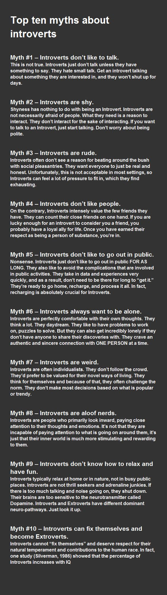 Myths about introverts  This is so me.... And most of my family and friends are total extroverts!