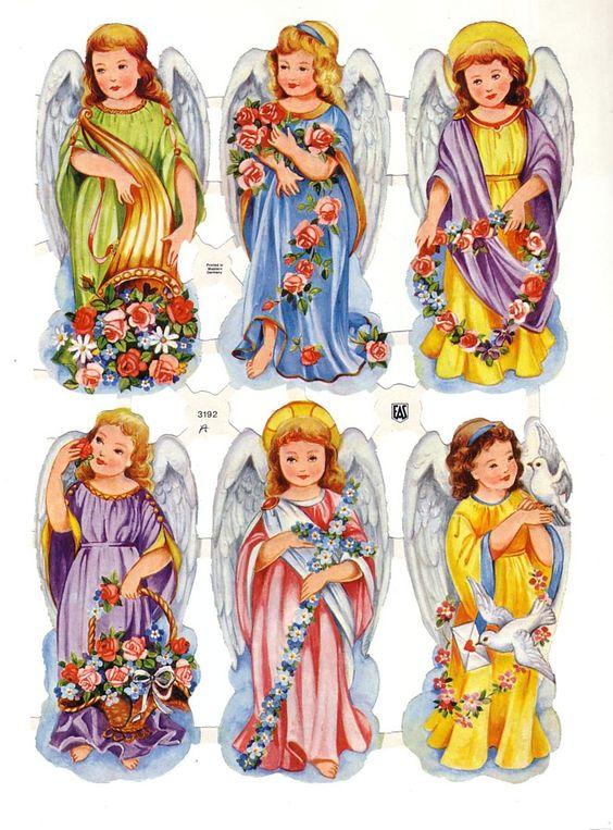 Angels Die-cut de la vendimia con las flores Eas Alemania (Image1)