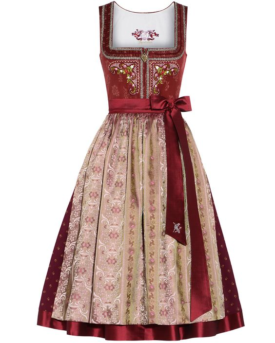 SPORTALM Dirndl kurz mit Seiden-Schürze | LODENFREY **I love the colour. I love the ribbon. I love the layers on the skirt and embroidery of the chest. I do not like the square neckline.