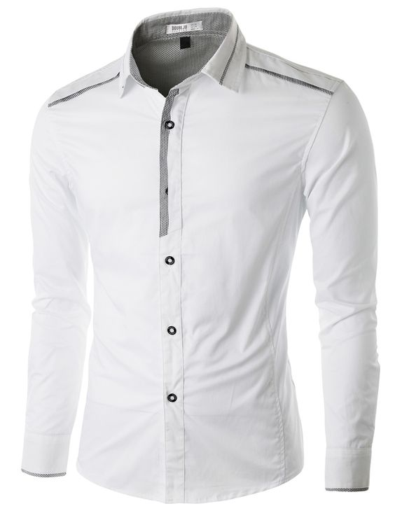 Doublju Men's Casual Button Down Shirt with Piping Detail #doublju ...