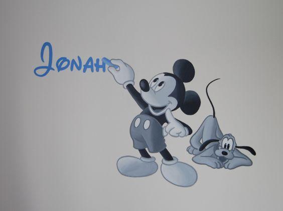 Muurschildering Mickey die naam schrijft on Lizart http://lizart.be/wp ...