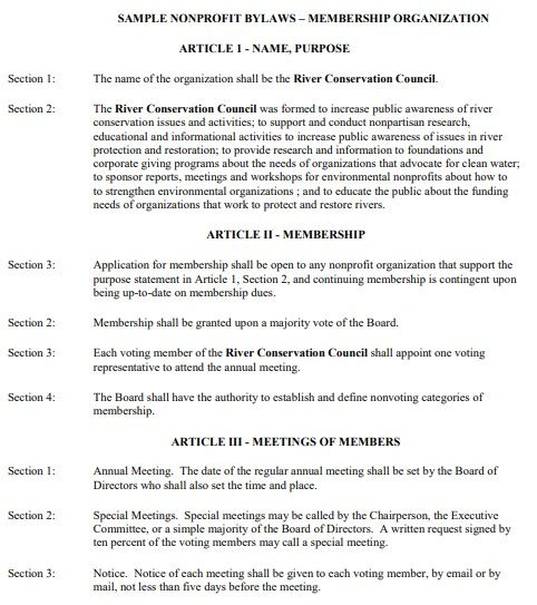 Bylaws Template For Non Profit Organization In 2021 Template Word Nonprofit Organization Templates