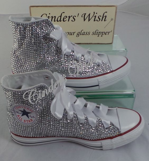 All over sparkling converse   , wedding converse , bride converse , bling hi tops , #cinderswish #stunning #unique @weddingconverse
