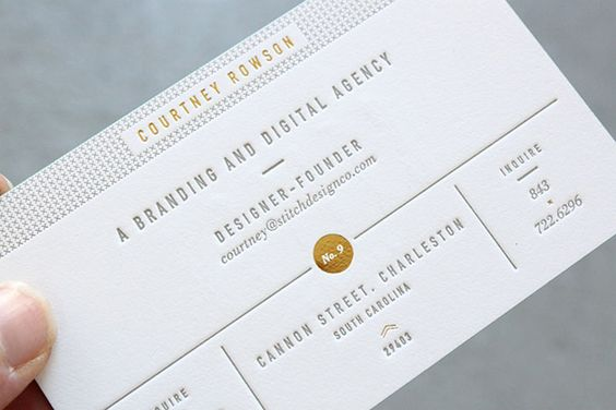 stitch design; best business cards - embossing and letterpressing looks really slick and professional. Has a nice tactile quality. I like the grid and order of this card.