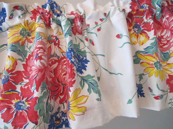 Floral Bouquet Tablecloth Valance, Blue Yellow Red Curtain ...