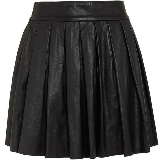 Alice + Olivia Box Pleat Leath Skirt found on Polyvore