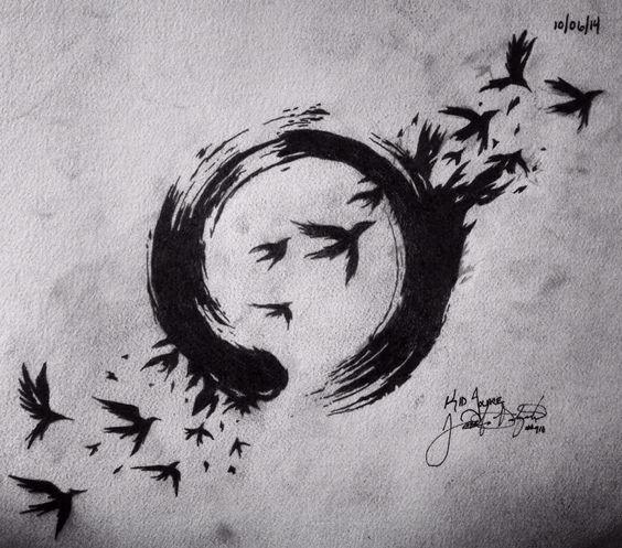 Half circle and birds