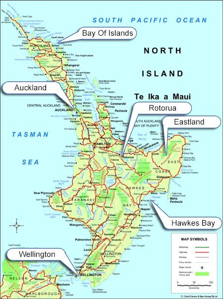 Map of New Zealand  North Island Regions and Districts