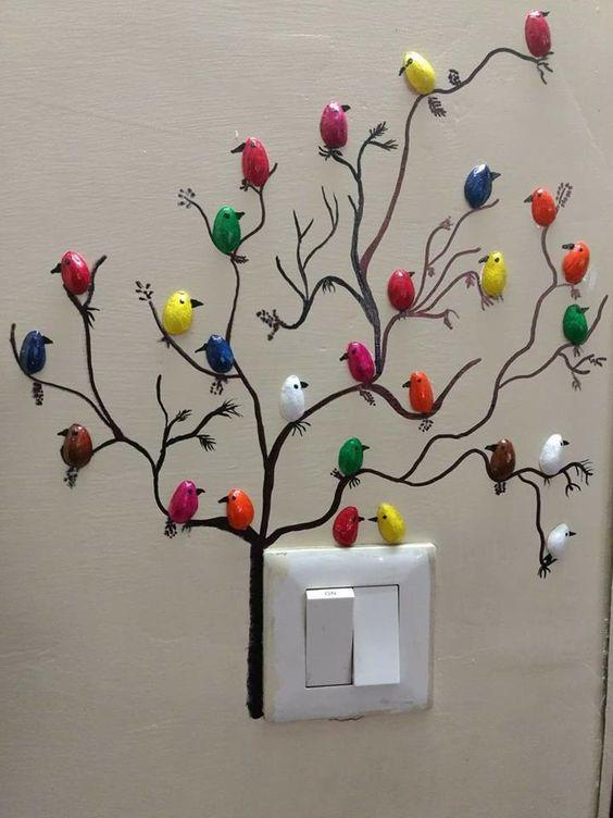 Как сделать небольших фисташковых птичек для украшения стен