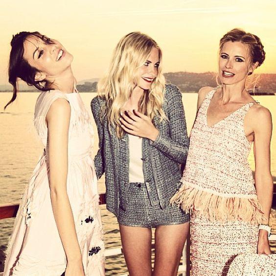 Alexa Chung, Laura Bailey, Poppy Delevingne in Chanel.