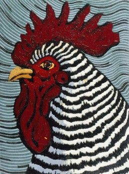 Rooster - woodcut print - Barry Wilson (born 1961, U.S.A.)
