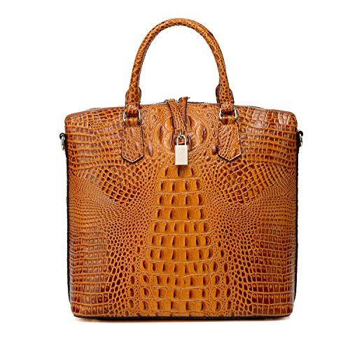 Vicenzo Dione Croc Embossed Tote Leather Handbag - Brown…