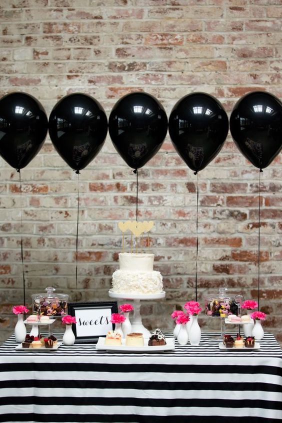 Kate Spade wedding ideas, black and white stripes: