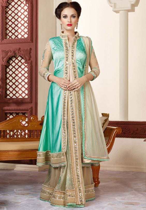 Stylish Beige Saree with Sea Green Jacket | Designer Sarees
