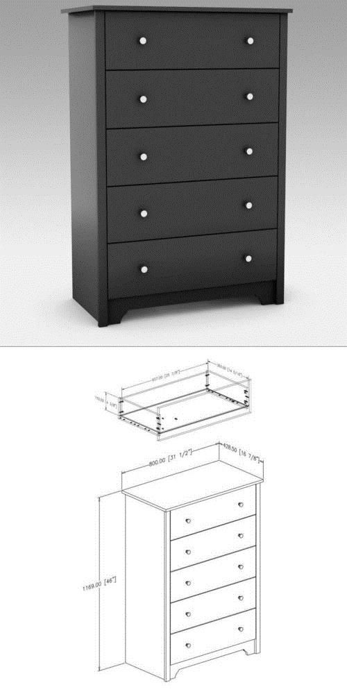 Black 5 Drawer Dresser Chest Drawers Wooden Clothes Storage Bedroom Furniture Storage Furniture Bedroom Black