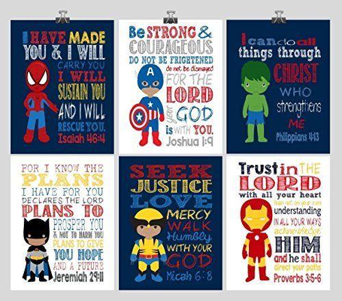 Superhero Nursery Decor Art Set of 4 Prints Superman and Spiderman Captain America Multiple Sizes