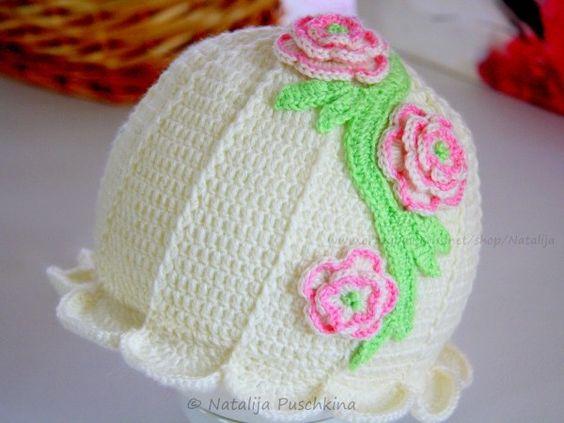 Baby-Mütze  Blume  häkeln / DIY-Mütze häkeln | Mützen | Pinterest