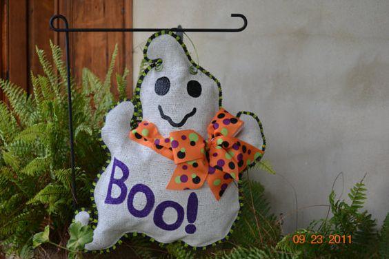 Ghost Burlap Door Hanger
