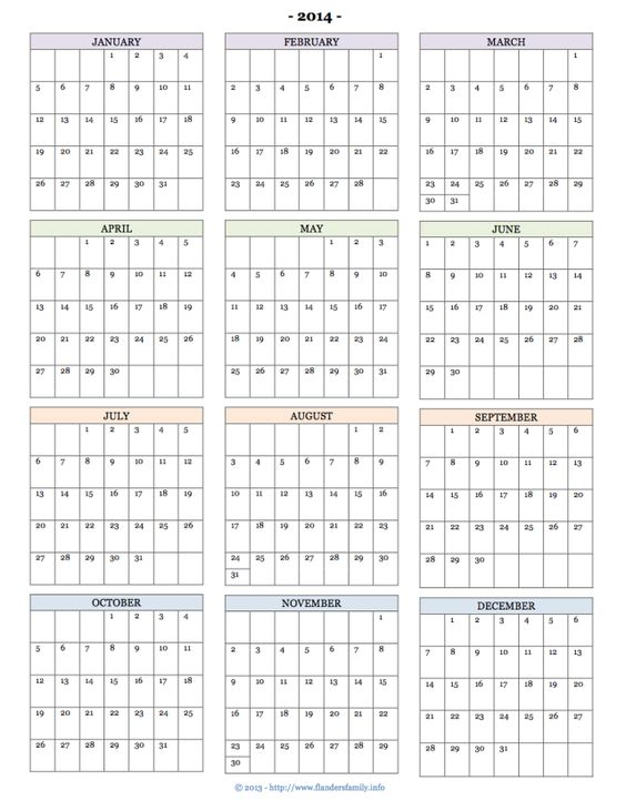 Free printable calendars for 2014 monthly pages year at for Month at a glance blank calendar template