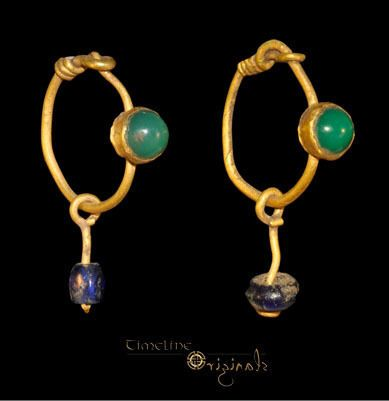 RARE ANCIENT ROMAN EMERALD GOLD HOOP EARRING PAIR jewellery jewelry 027501 | eBay: