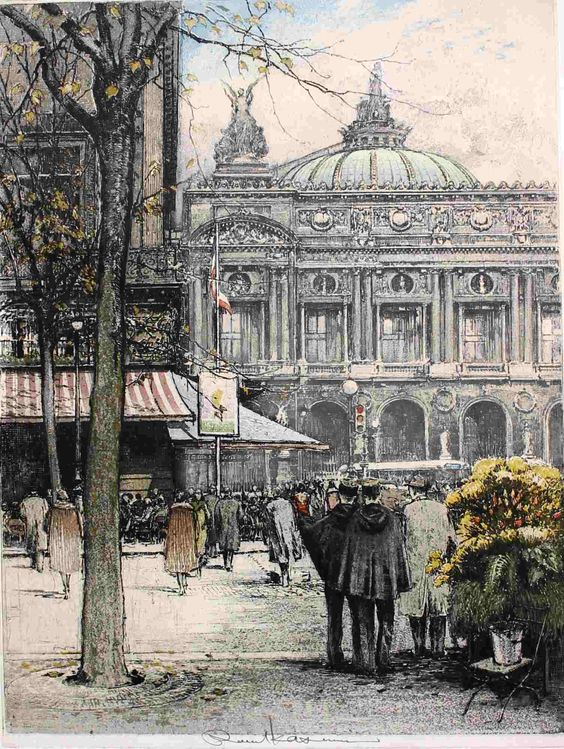 Luigi Kasimir Paris Street Scene with Paris Opera House  1924: