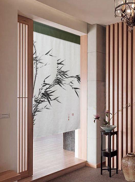 Bamboo Door Curtain Orient Style Silk Screen Noren Curtain