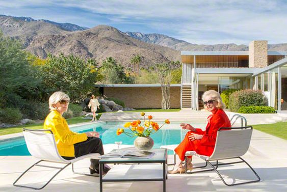 """""""Poolside Reunion"""" by Fred Moser + Kelly Lee -- A photo of the 45-year reunion of Slim Aarons' Poolside Gossip with the original ladies at the Kaufmann House in Palm Springs #slimaarons"""