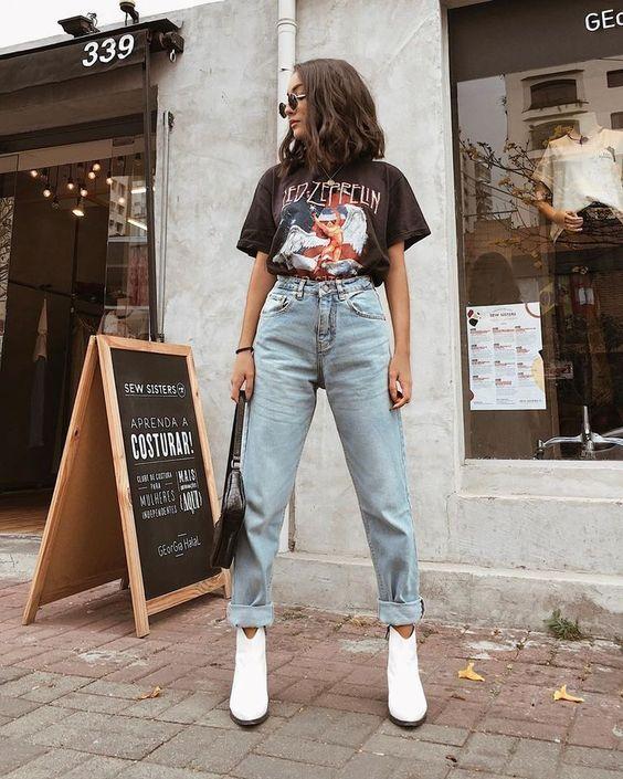 Peça super versátil e tendencia atemporal, a mom jeans é perfeita para qualquer ocasião #momjeans #vintage #modafeminina  #tendencia2020 #look