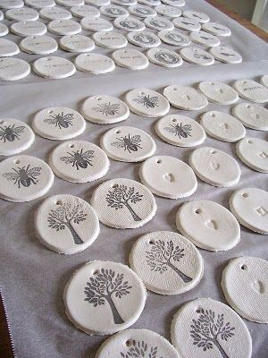 Gift tags made of Salt dough & then stamped. Made with 1 cup salt, 2 cups all purpose flour and 1 cup luke warm water. (You can let dry naturally or in a 200 degree oven.)
