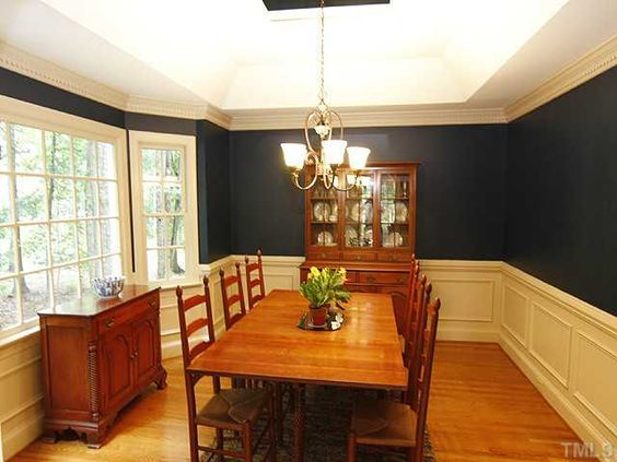 Love this wainscoating in this Dining Room in Raleigh, NC | Fonville Morisey Real Estate