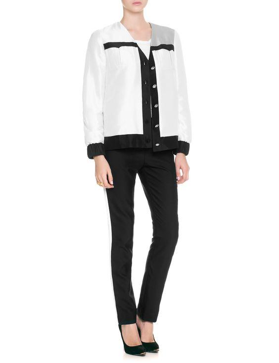 Cream Silk Bomber Jacket | Huishan Zhang | Avenue32