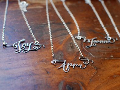 Personalized typography necklaces: super beautiful! I love these! Thanks to @Elizabeth Silbermann!