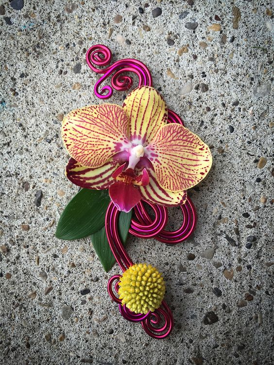 Elegant contemporary dark pink boutonniere with phalaenopsis orchid and craspedia on a base of decorative magenta wire.  This would also be equally stylish as a contemporary corsage.    By http://www.fleurdelise.ca  