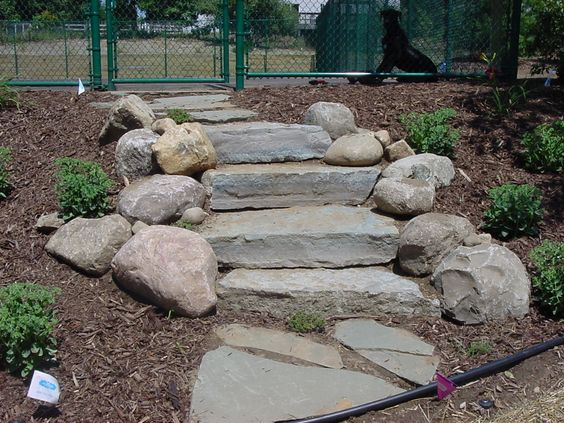 Natural stone steps austin lake portage mi the lower for Landscaping rocks austin