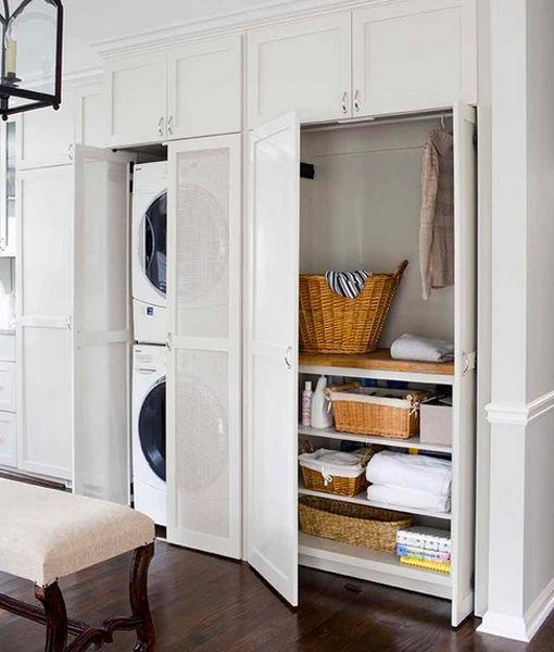 Lavadora En Un Baño Pequeno Es Posible:Zonas de lavado y planchado en armarios de cocina
