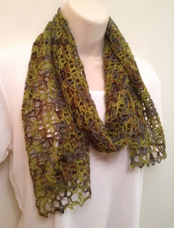 Green Mix Lace Crochet Scarf by SueAnnesKnitShoppe on Etsy
