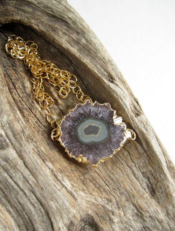 Stalactite Druzy Necklace Sideways Amethyst by julianneblumlo [wish it was 14k]