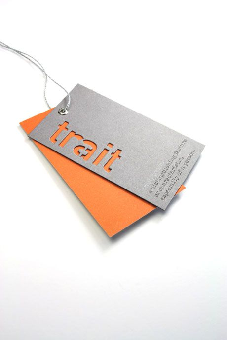 Swing Tag. I like how the name as been laser cut and that there is a block colour card underneath.