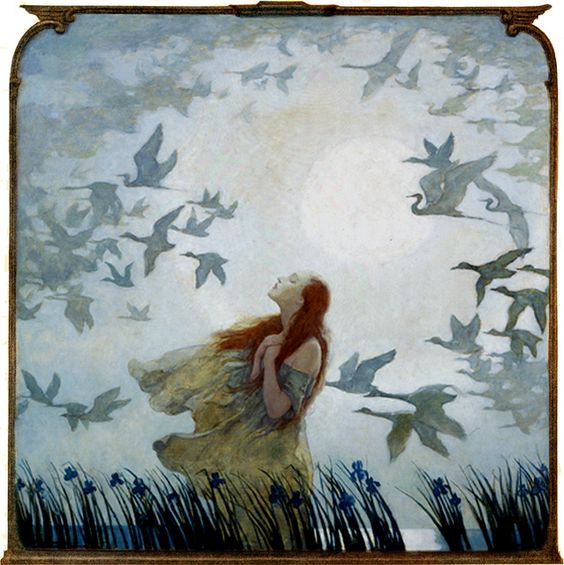 'All Birds Shall Have Homes' out and away in the blue mist, off and gone in the gray haze.... 1928 by N. C. Wyeth