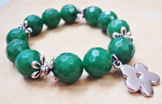 Chunky Green Agate Bracelet Stretch Beaded Bracelet by GioArte, $34.99